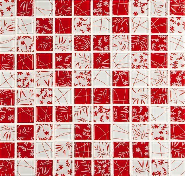 Pastilha de Vidro - 3x3 cm Decorado - Vetrobello