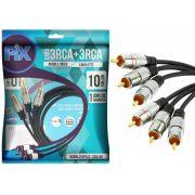 Cabo 3 RCA + 3 RCA Plug Metal Fitz - 10 Metros