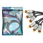 Cabo 3 RCA + 3 RCA Plug Metal Fitz - 2 Metros