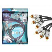 Cabo 3 RCA + 3 RCA Plug Metal Fitz - 3 Metros