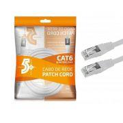 CABO DE REDE PATCH CORD CAT6 RJ45 5 METROS