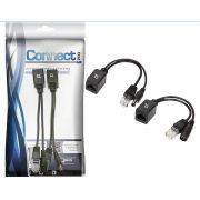 Kit Cabo Adaptador Injetor Poe Rj45 Macho Fêmea Connect Pro
