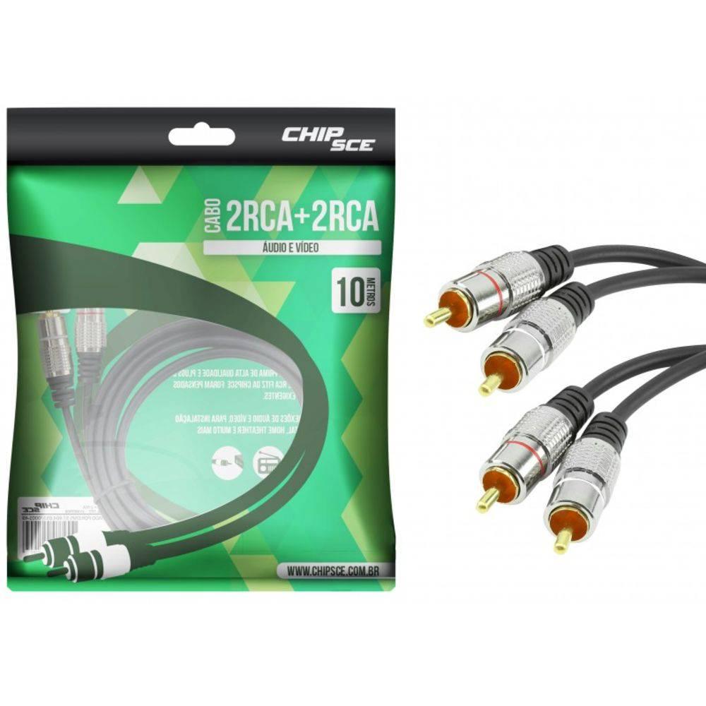 Cabo 2 RCA + 2 RCA Plug Metal Fitz - 10 Metros