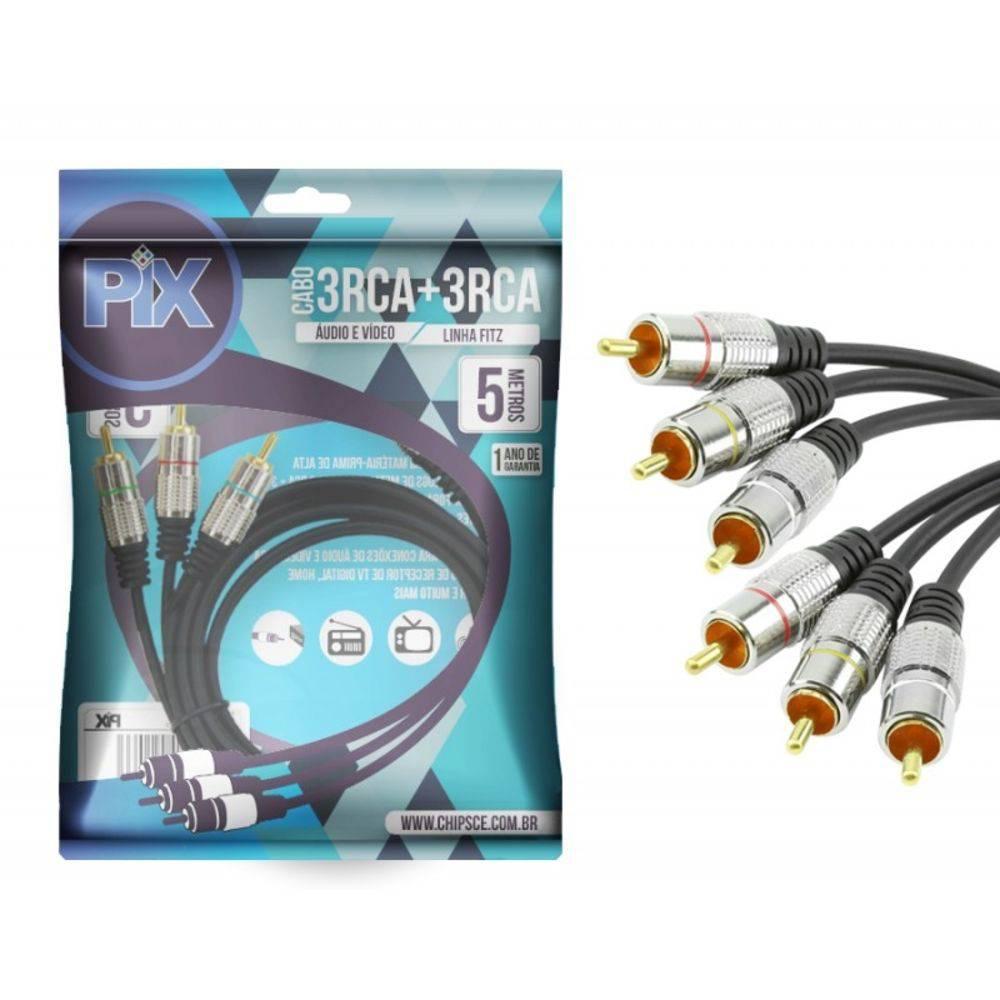 Cabo 3 RCA + 3 RCA Plug Metal Fitz - 5 Metros