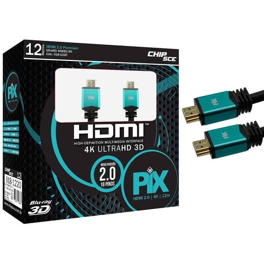 Cabo HDMI 2.0 4K HDR 19 Pinos 12MT PIX