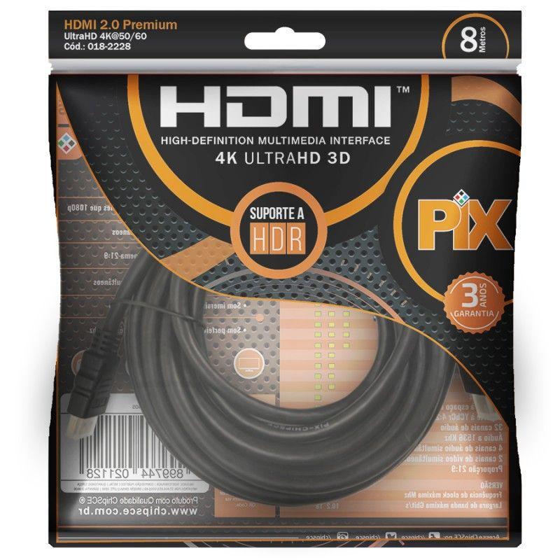 Cabo HDMI 2.0 4K HDR 19 Pinos 8MT PIX