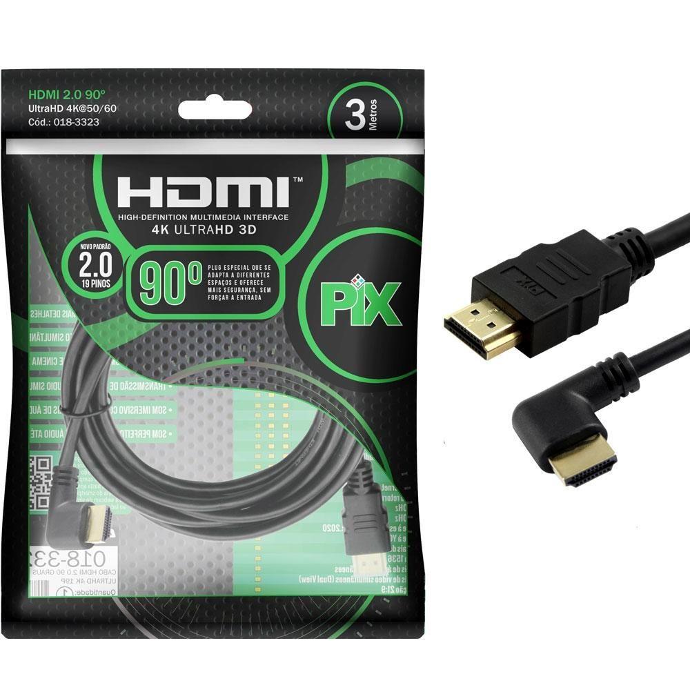 Cabo HDMI 2.0 4k Plug 90 Graus 3 Metros