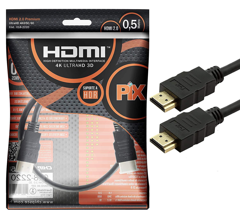 Cabo HDMI PIX 2.0 4K HDR 19 Pinos 0.50cm