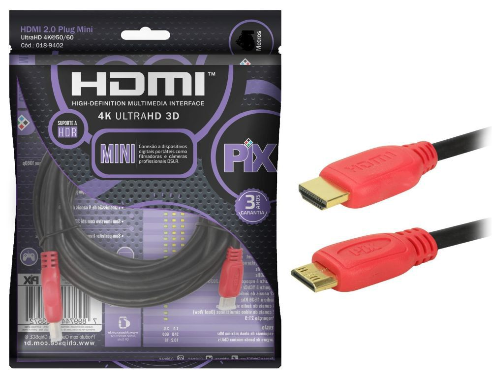 Cabo Mini HDMI X HDMI 2.0 Ultra HD 4K HDR 3 Metros