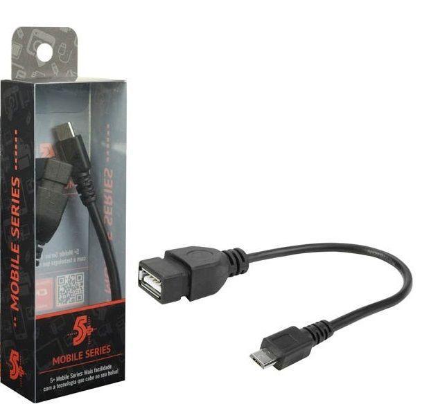 CABO USB FEMEA MOBILE OTG - V8 - 17CM - PRETO