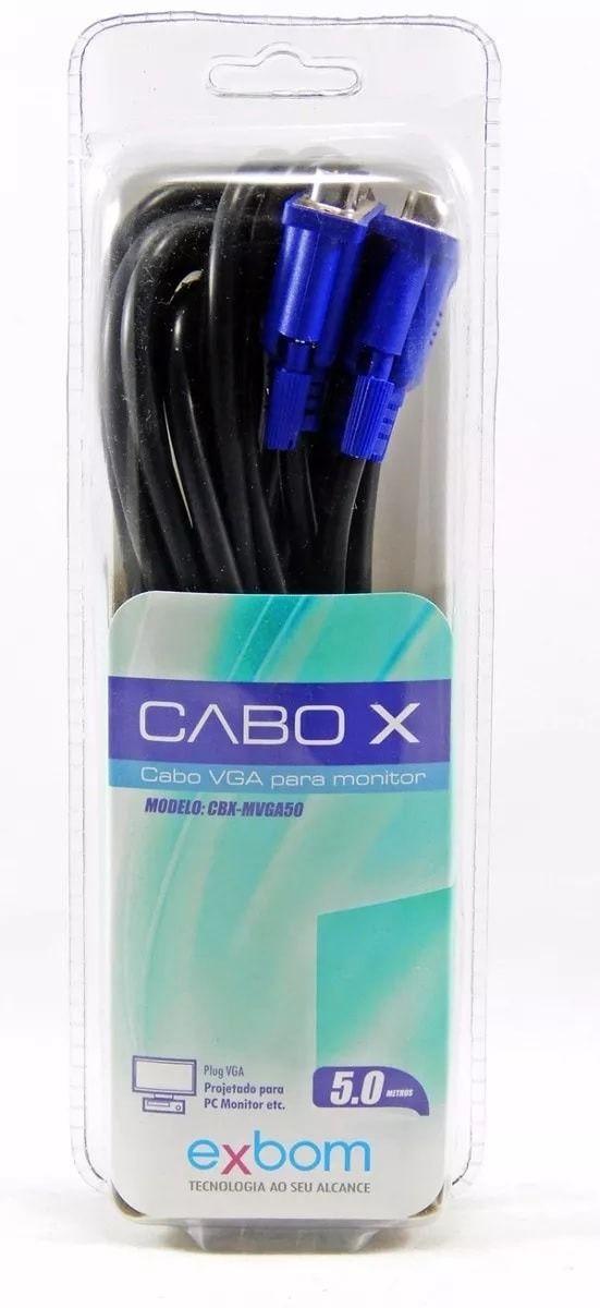 Cabo Vga para Monitor 5 mt com filtro  Exbom Cbx- Mvga50