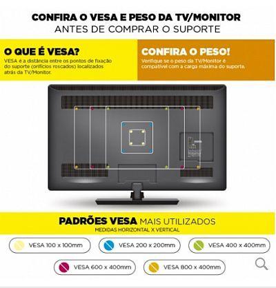 Suporte Tv Led Fixo HD598L Multivisão de 32 A 80