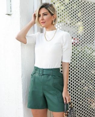 Blusa Basica em Malha Canelada Unique Chic