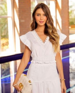 Blusa Cropped em Tricoline com Renda Milalai