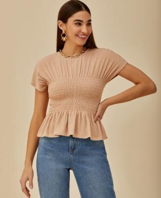 Blusa Decote Redondo com Lastex Unique Chic