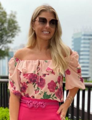 Blusa Estampa Floral e Detalhe de Amarracao no Busto Unique Chic