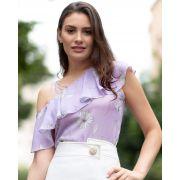 Blusa Ombro Unico com Babados Florais em Crepe Unique Chic