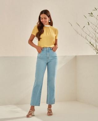 Calca Jeans Cropped Reta Unique Chic