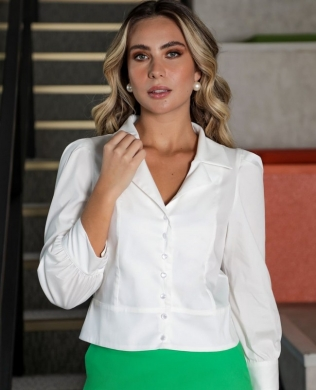 Camisa Cropped em Tricoline Donna Ritz