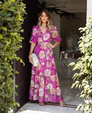 Vestido Longo Floral com Decote em V Milalai