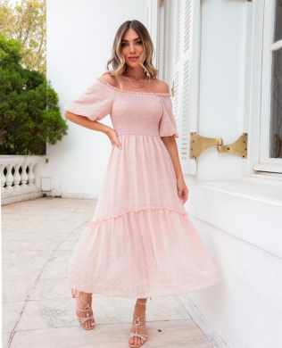 Vestido Midi em Chiffon Vichy Donna Ritz