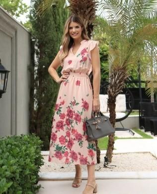 Vestido Midi Estampa Floral com Decote em V Unique Chic