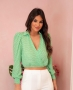 Blusa Cropped com Poas e Decote Transpassado Donna Ritz