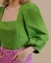 Blusa Cropped em Algodao Maquinetado Unique Chic