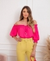 Blusa Cropped Ombro a Ombro em Crepe Milalai