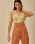 Blusa Decote em V com Detalhe em Corda Unique Chic