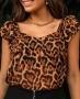 Blusa em Chiffon Animal Print com Decote Princesa Donna Ritz