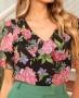 Blusa em Chiffon com Estampa Floral Doce Flor