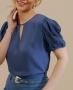 Blusa em Crepe com Recorte em V Unique Chic