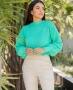 Blusa em Tricot com Detalhe de Ponto Pipoca