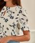 Blusa Estampada em Crepe com Botao Unique Chic