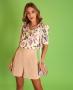 Blusa Floral com Decote em V Donna Ritz