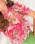 Blusa Floral Gola Alta com Babados Doce Flor