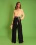 Calca Pantalona em Crepe com Cinto de Corda Donna Ritz