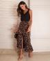 Saia Midi Animal Print com Fenda Frontal Donna Ritz