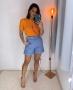 Shorts em Sarja com Cinto Pespontado Unique Chic