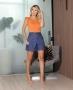 Shorts em Sarja com Cintura Alta e Pregas Aramodu