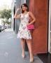Vestido Curto Floral em Crepe Donna Ritz