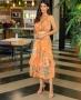 Vestido Floral em Crepe com Cinto Faixa Milalai