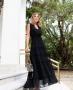 Vestido Longo Com Lastex e Detalhes de Babado Milalai
