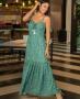 Vestido Longo Estampado em Crepe Decote Princesa Aramodu