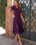 Vestido Midi com Renda e Fenda Donna Ritz
