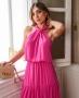Vestido Midi em Chiffon com Gola Transpassada Donna Ritz