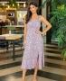 Vestido Midi em Viscose Estampada Donna Ritz