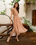Vestido Poa em Crepe com Lastex Milalai