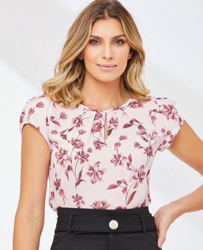 Blusa Basica Floral Unique Chic com Gota